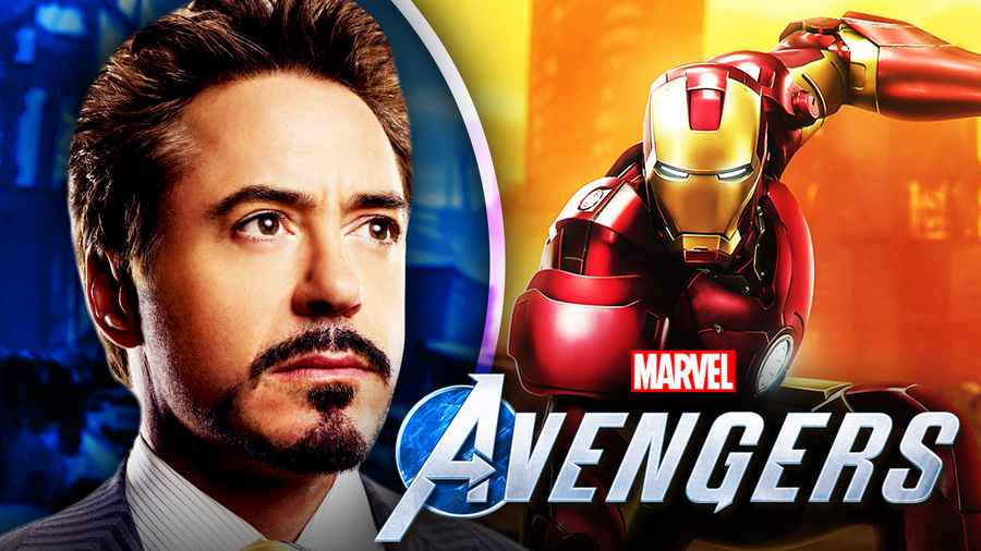 Robert Downey Jr. as Iron Man, Marvel's Avengers logo