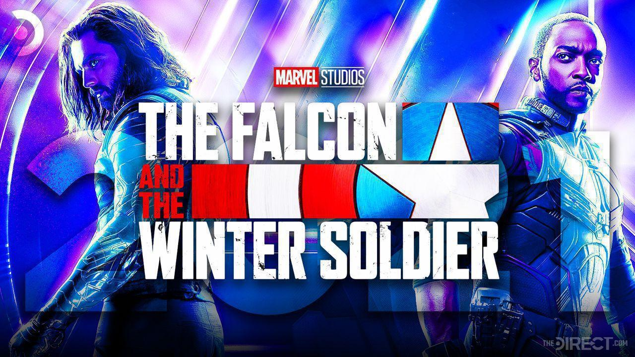 Sebastian Stan as Bucky, The Falcon and the Winter Soldier logo, Anthony Mackie as Falcon, 2021 text