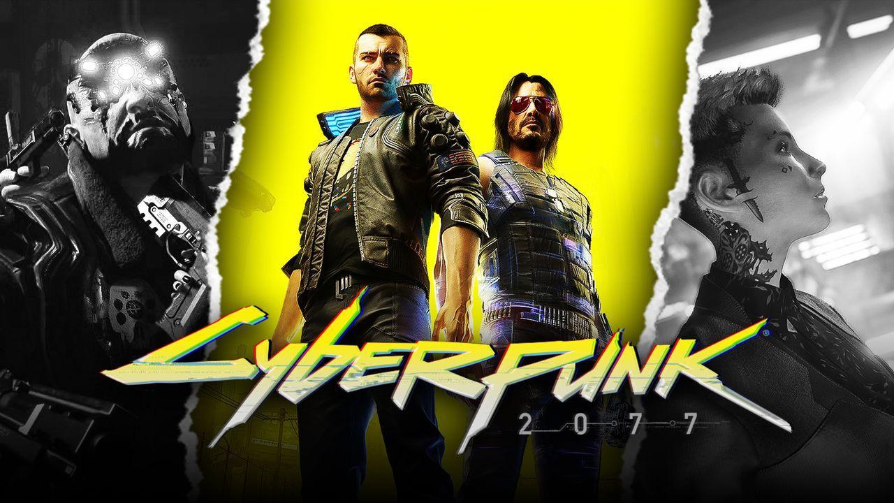 Cyberpunk 2077 characters and logo