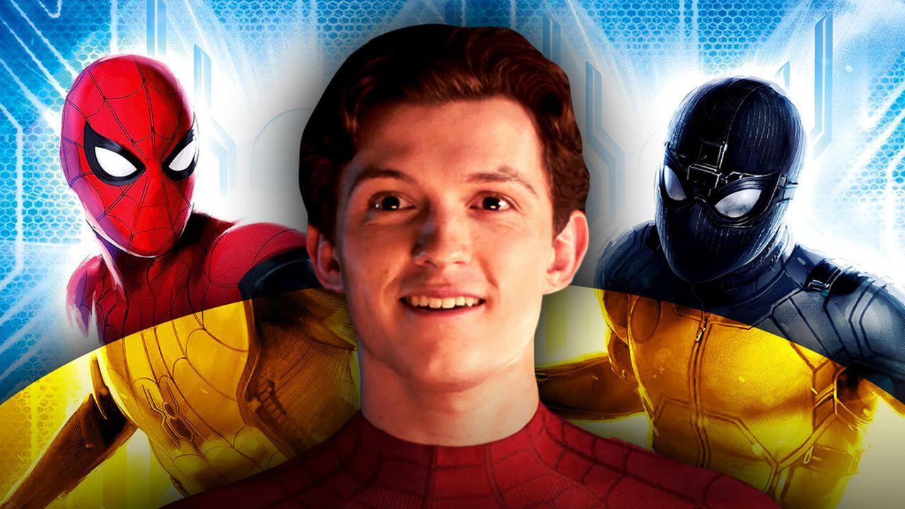 Spider-Man classic suit, Tom Holland, Spider-Man stealth suit