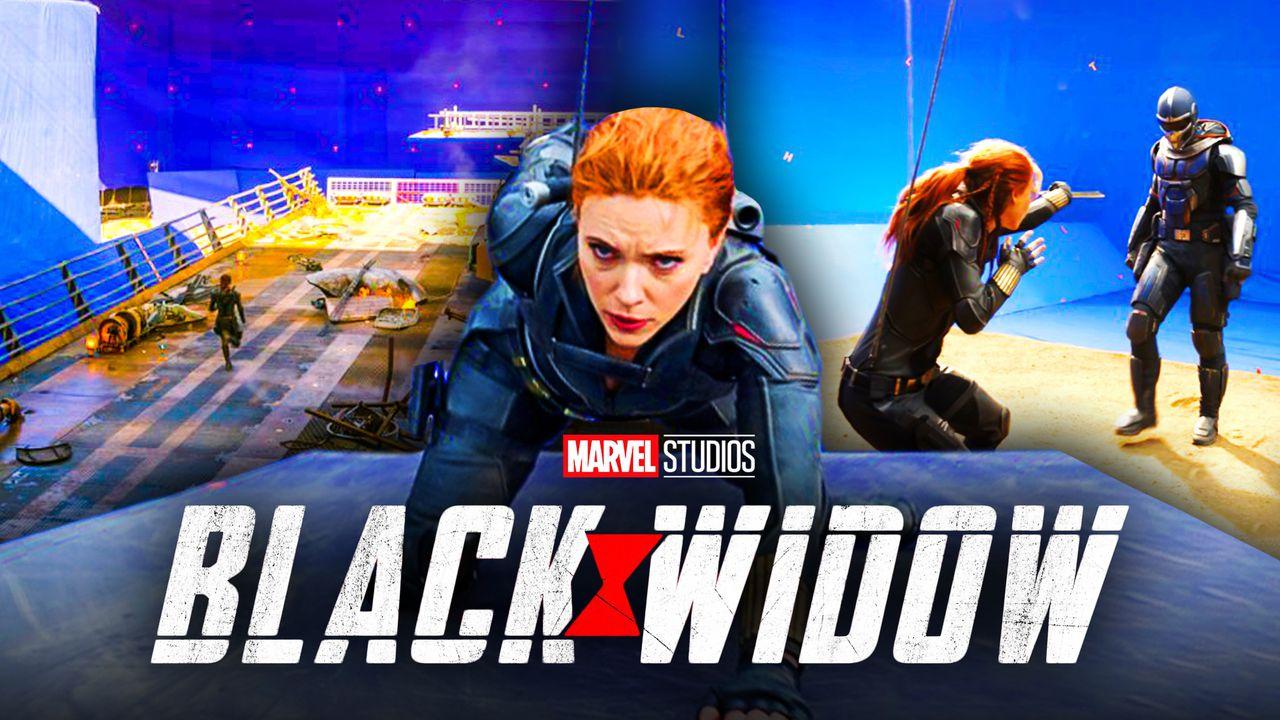 Black Widow logo, Scarlett Johansson as Natasha Romanoff, Taskmaster