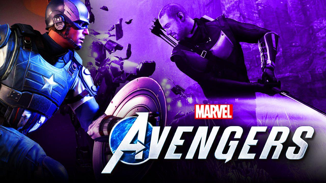 Captain America and Hawkeye stand in front of the Marvel's Avengers logo