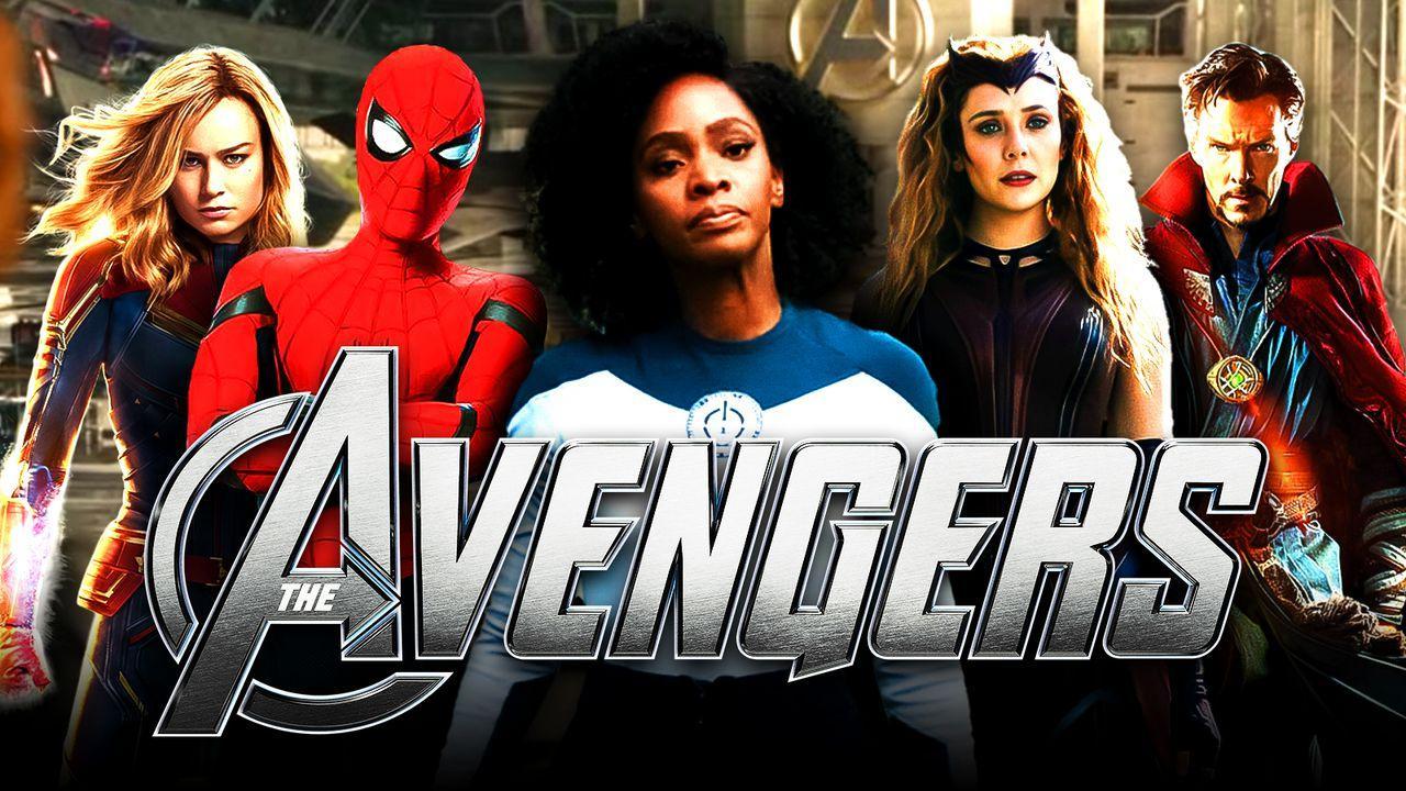 Teyonah Parris as Monica Rambeau, Avengers logo, Spider-Man, Captain Marvel, Scarlet Witch