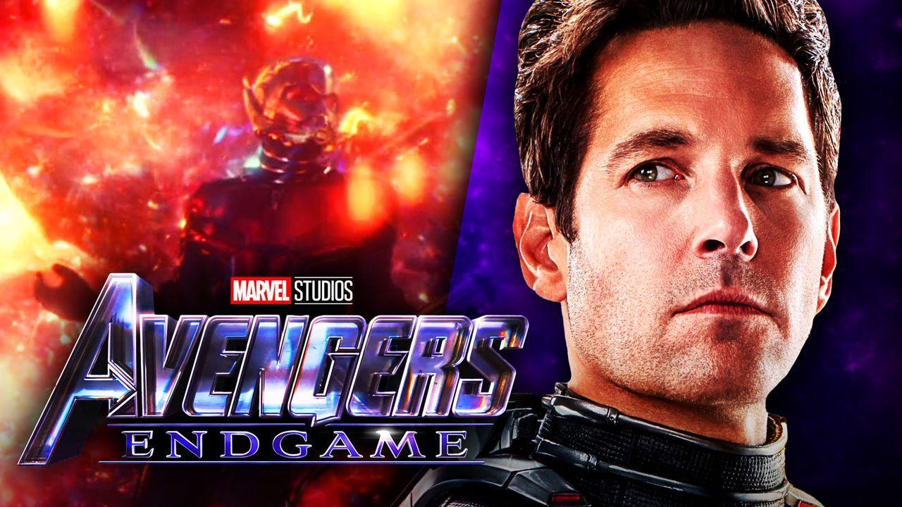 Ant-Man in Quantum Realm on left, Scott Lang on right, Endgame logo in bottom left corner
