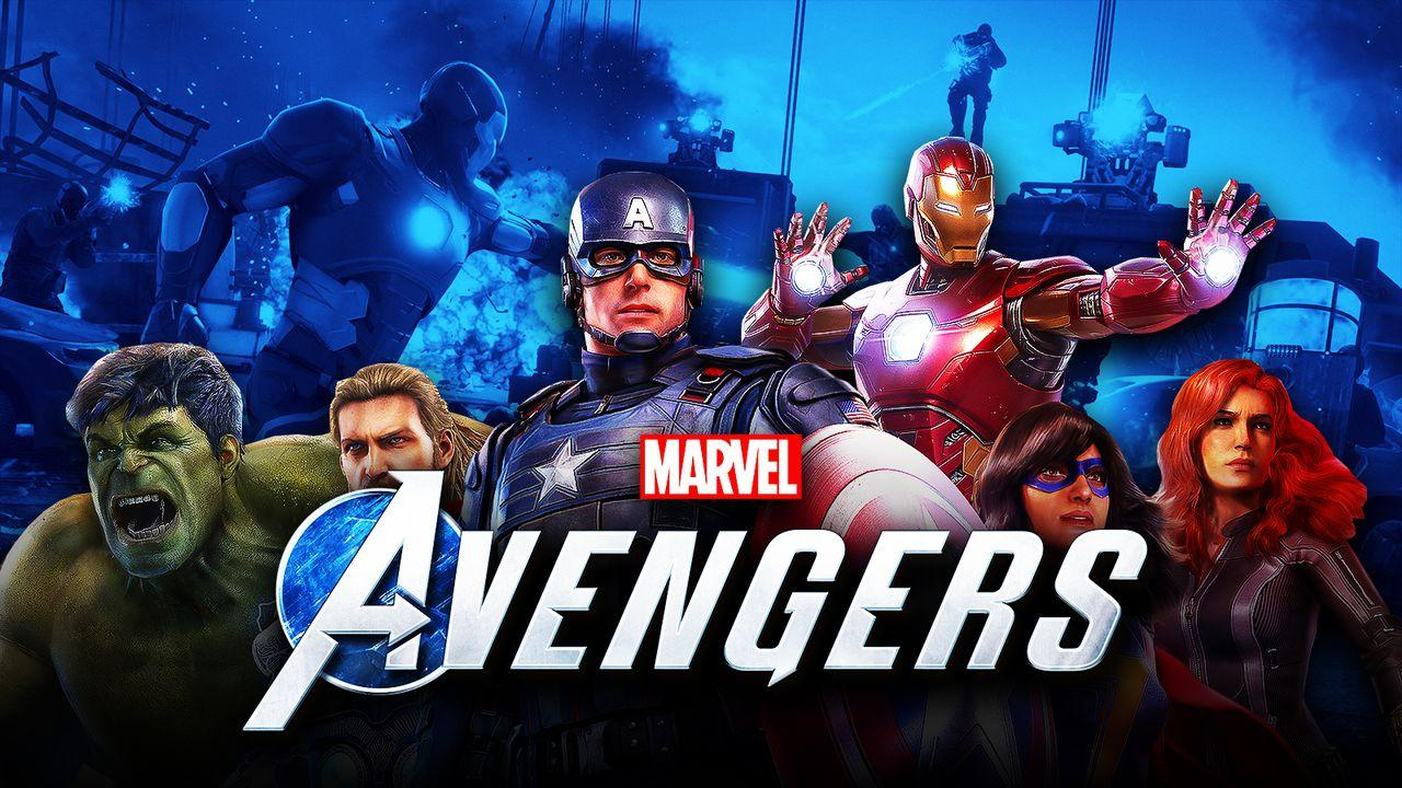 Hulk, Thor, Captain America, Iron Man, Ms. Marvel, and Black Widow stand in hero poses