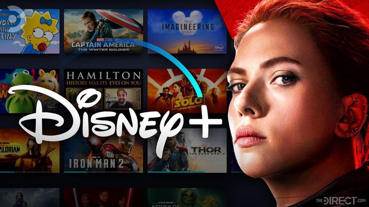 Scarlett Johansson's Black Widow with Disney Plus logo