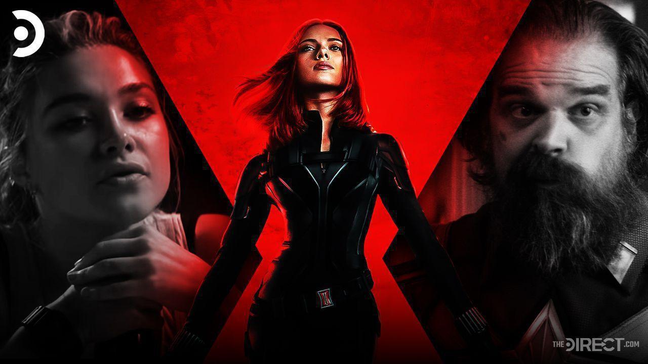 Black Widow movie logo, Scarlett Johansson as Natasha Romanoff, Red Guardian, Yelena Bolova