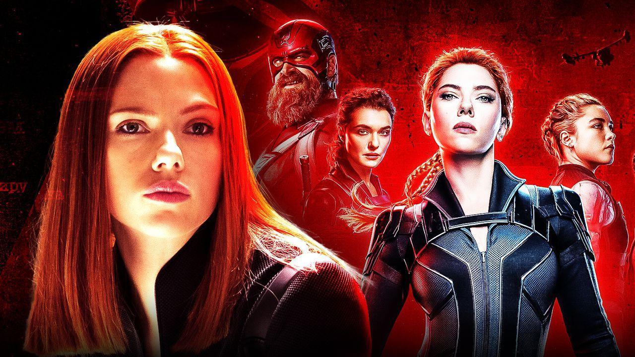 Scarlett Johansson Black Widow with Black Widow Poster