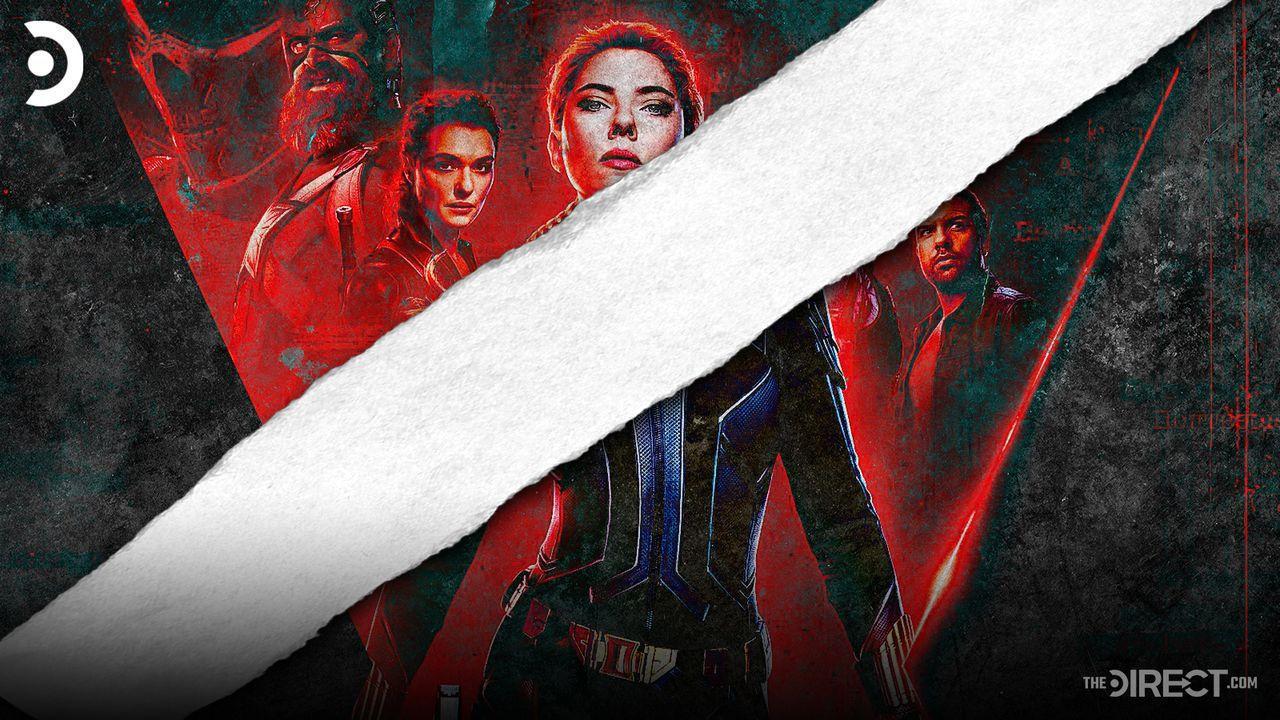 Black Widow poster torn in half