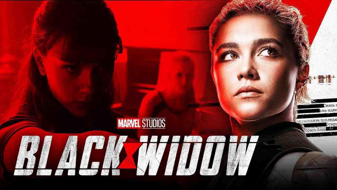 Black Widow logo, Florence Pugh as Yelena Belova, Scarlett Johansson as Natasha Romanoff