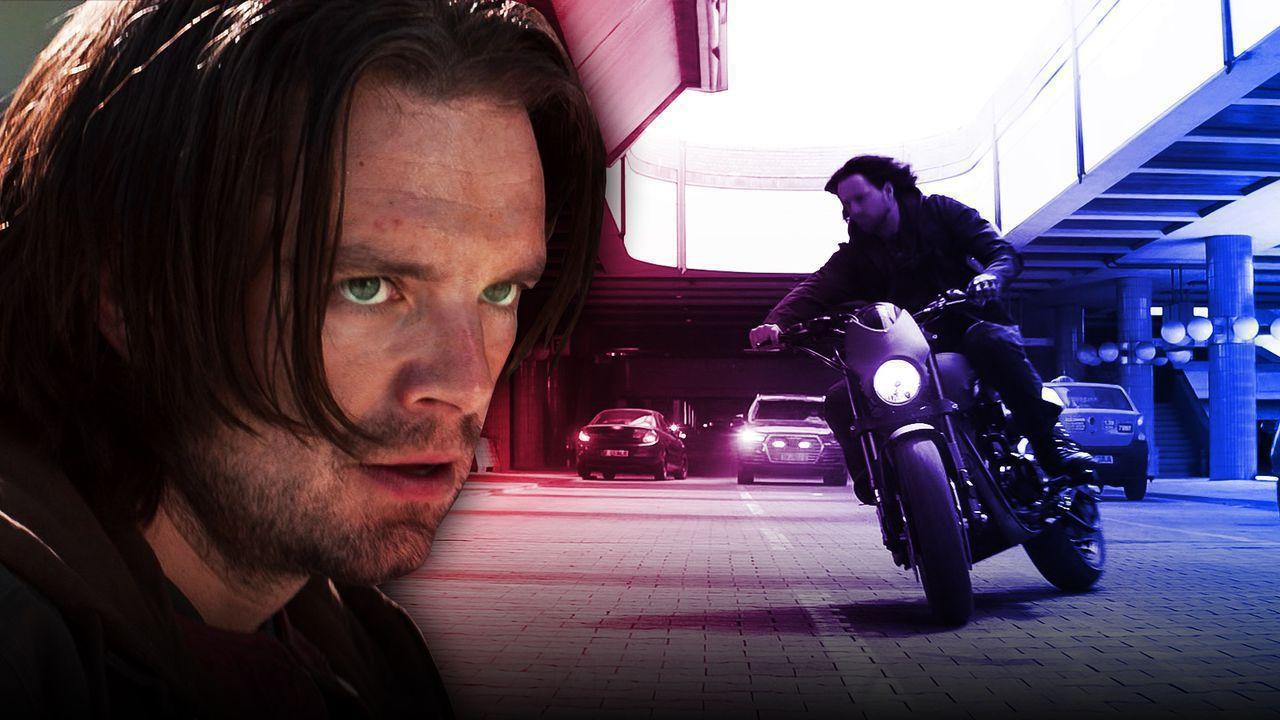 Sebastian Stan as Bucky, Bucky riding a motorcycle