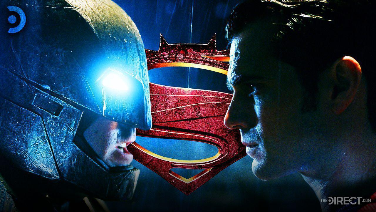 Batman and Superman with the BvS logo in the center background