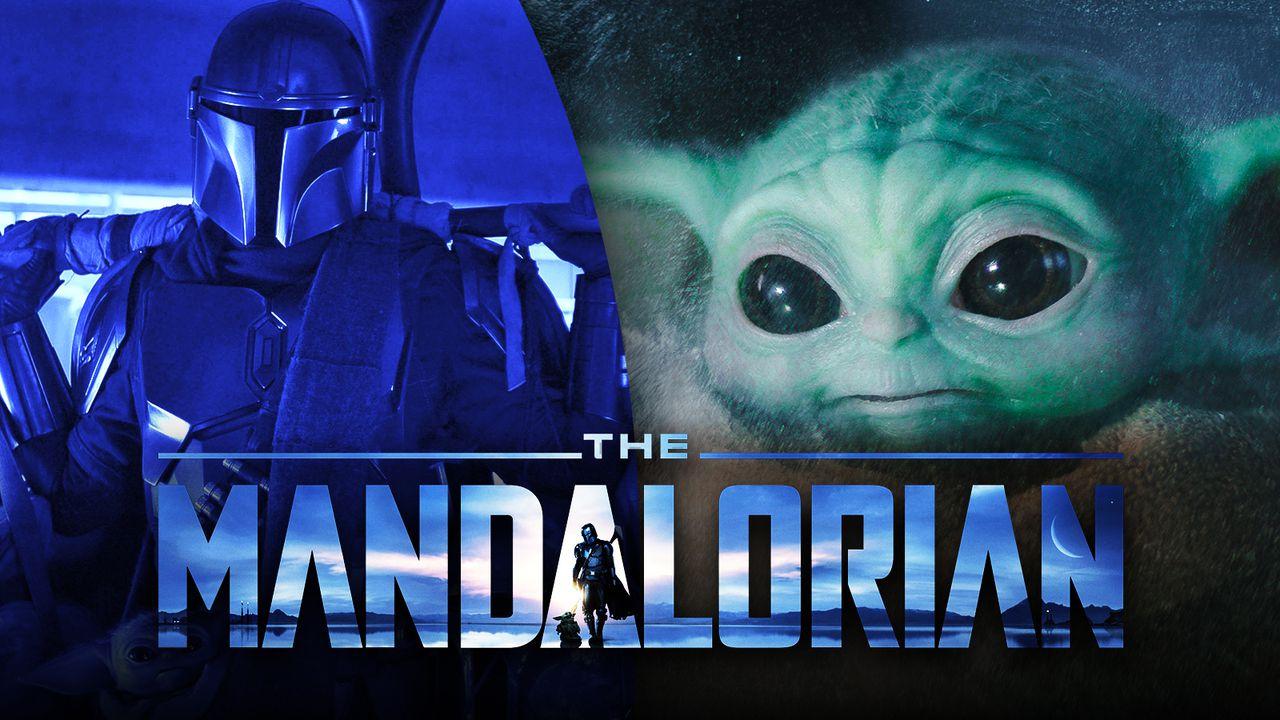 The Mandalorian logo, Mando, Baby Yoda