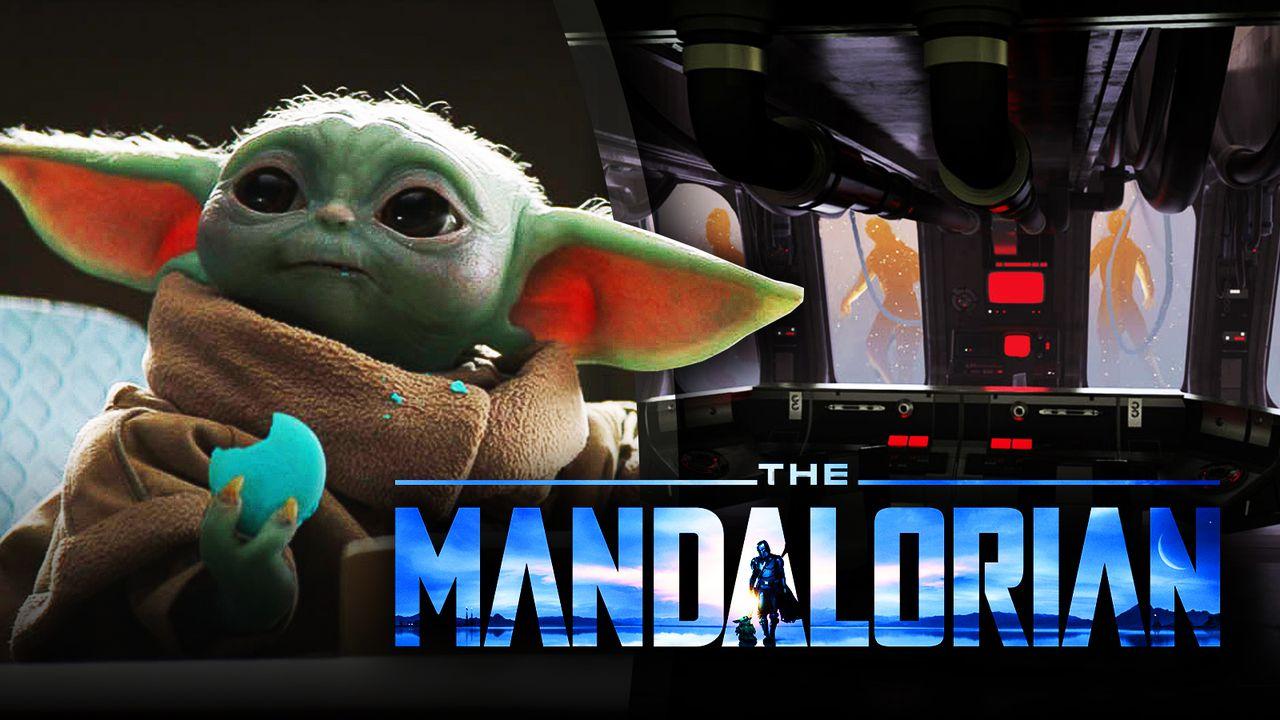 The Mandalorian logo, Baby Yoda, Clones