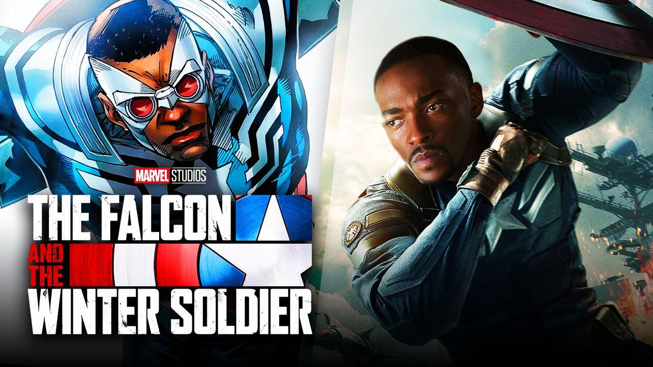 Sam Wilson wearing Captain America costume