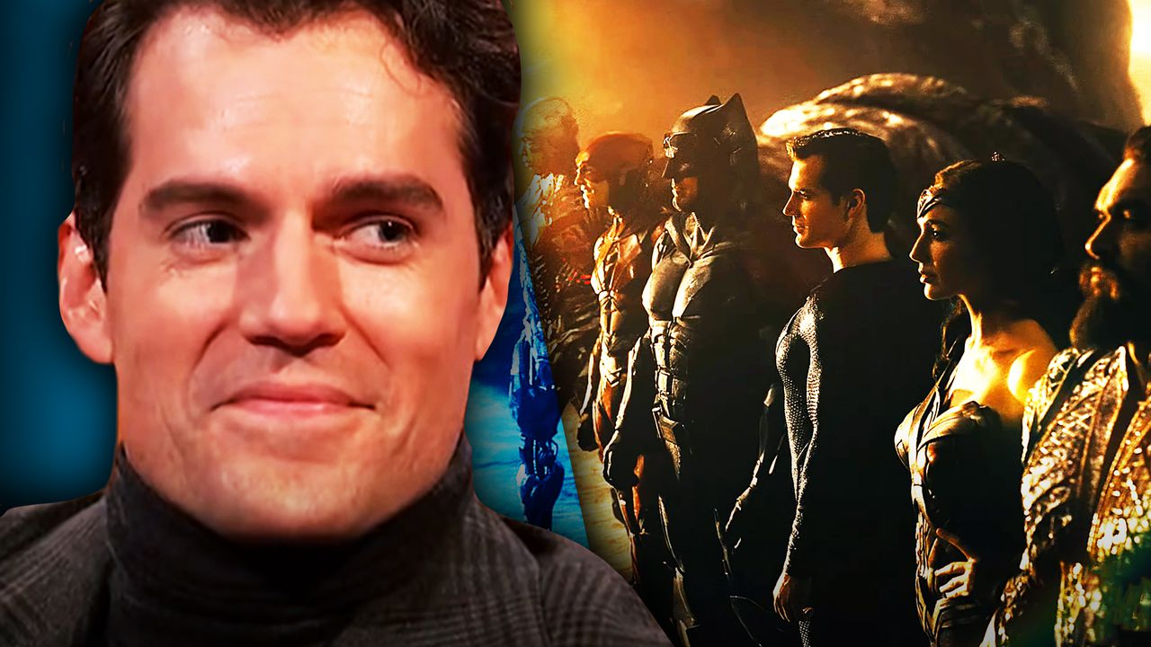Henry Cavill on left with Justice League on right