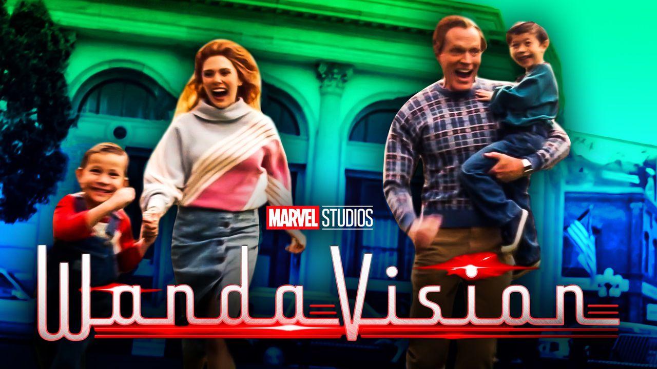 Wanda, Vision, Billy, Tommy, WandaVision title logo