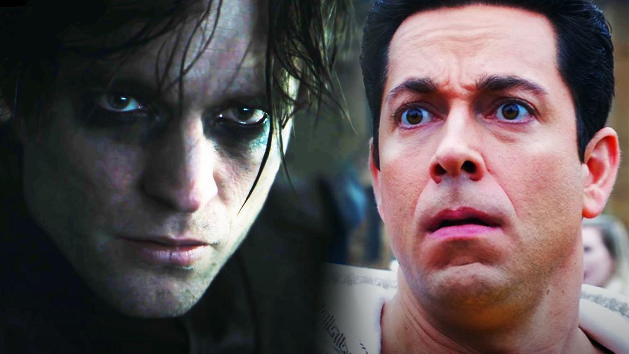 Robert Pattinson in The Batman and Zachary Levi as Shazam