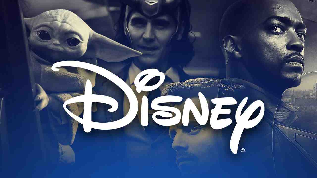 Disney logo in foreground with MCU and Star Wars characters in background