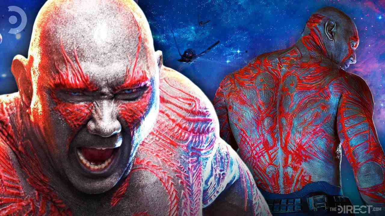 Angry Drax next to Drax facing away showing back tattoos