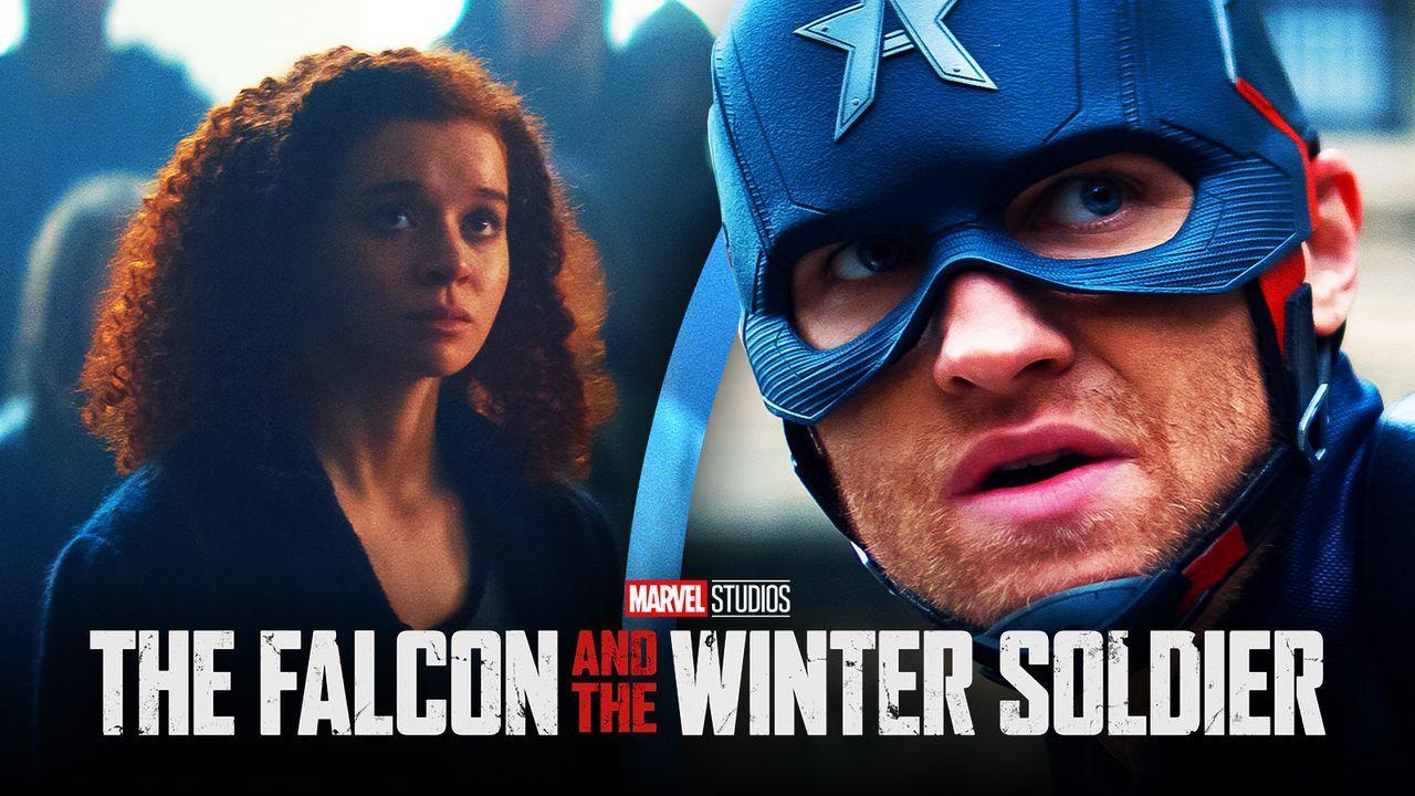 Karli Morgenthau, John Walker as Captain America, Falcon and the Winter Soldier logo