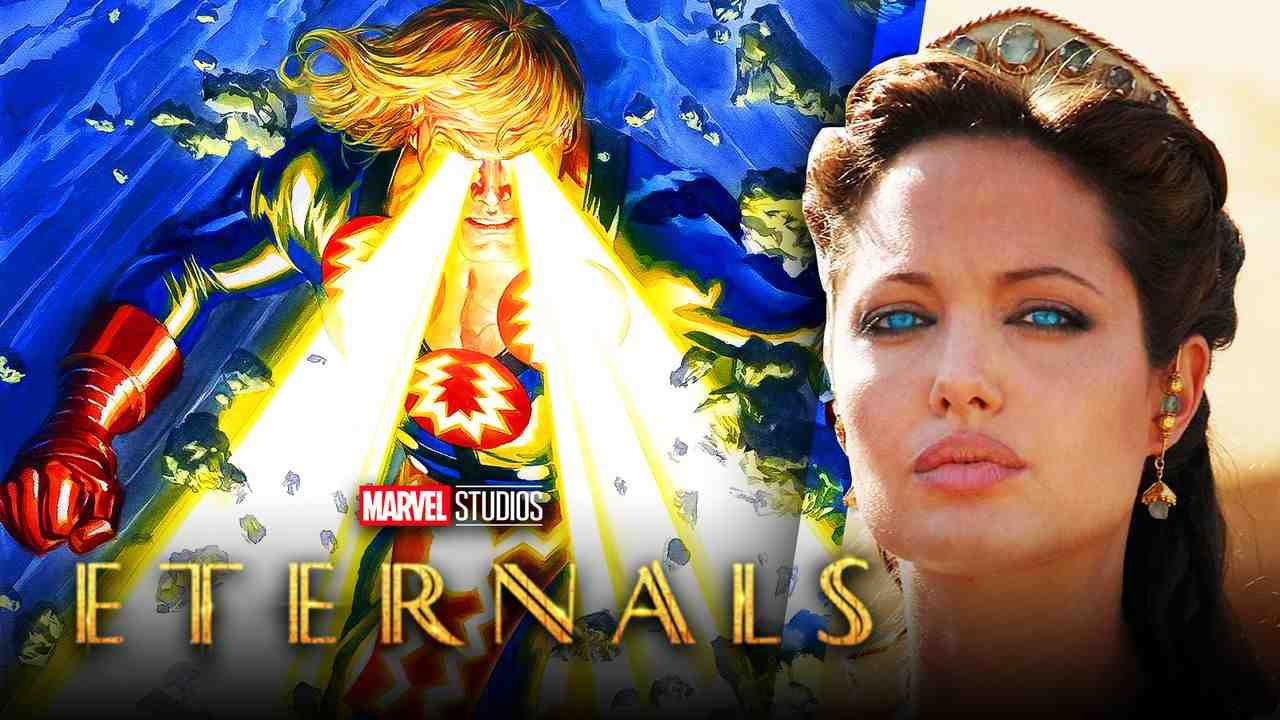 Ikaris from Eternals on left and Angelina Jolie on right