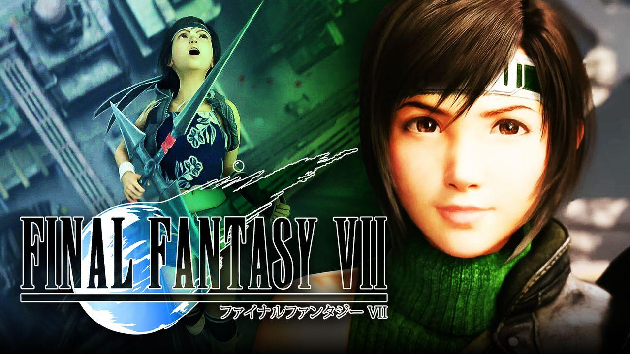 Yuffie next to the FF7 logo
