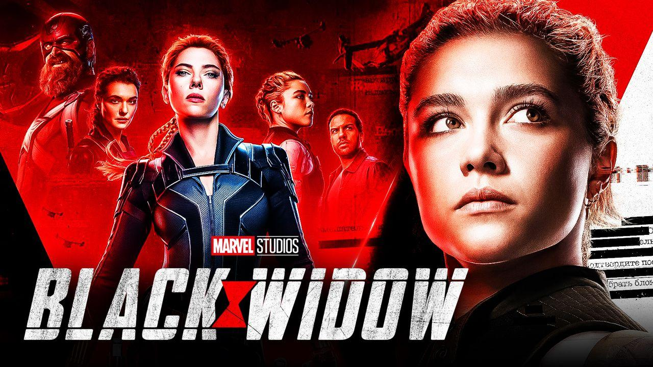 Florence Pugh as Yelena Belova, Scarlett Johansson as Natasha Romanoff, Black Widow logo