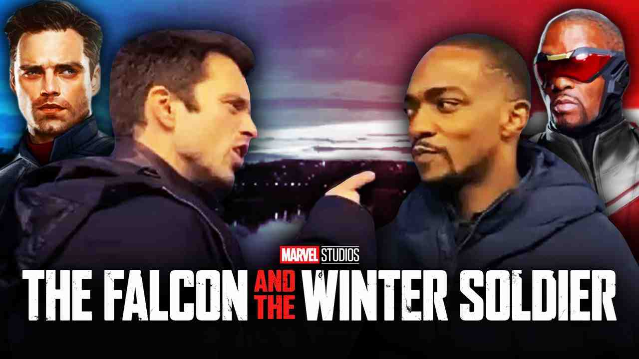 Sebastian Stan, Anthony Mackie, The Falcon and the Winter Soldier logo