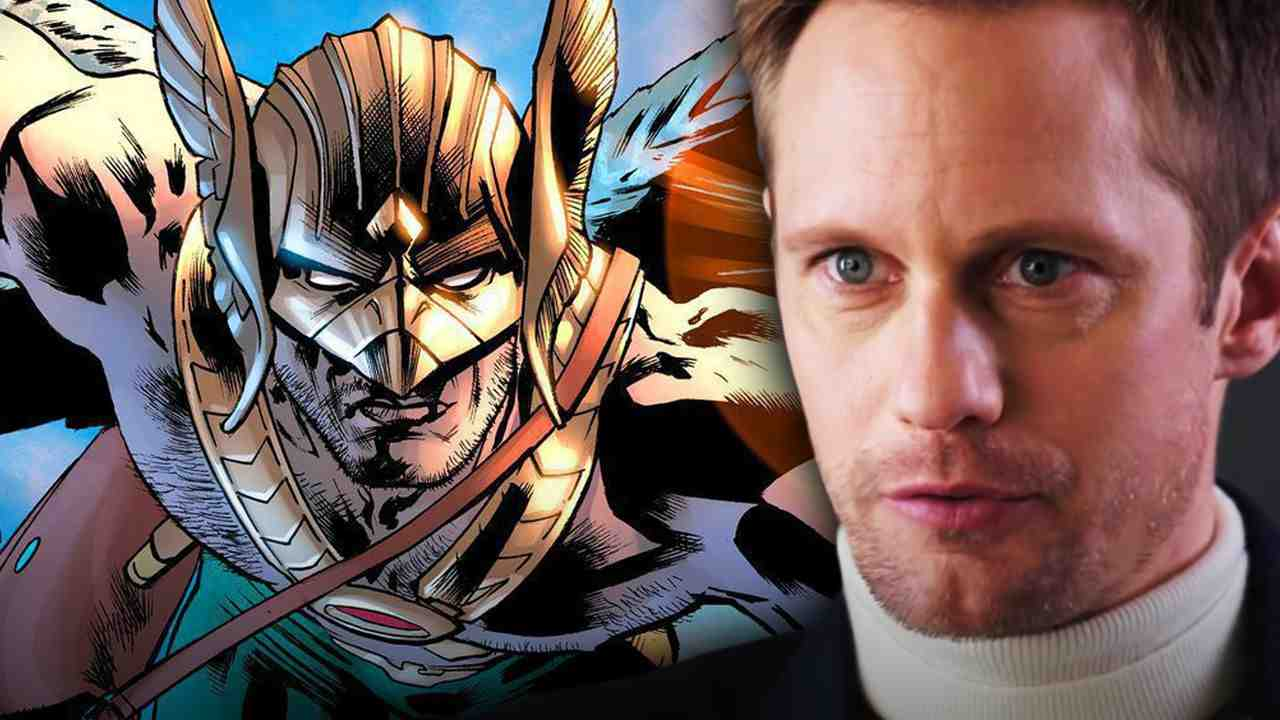 Hawkman on the left with Alexander Skarsgard on the right