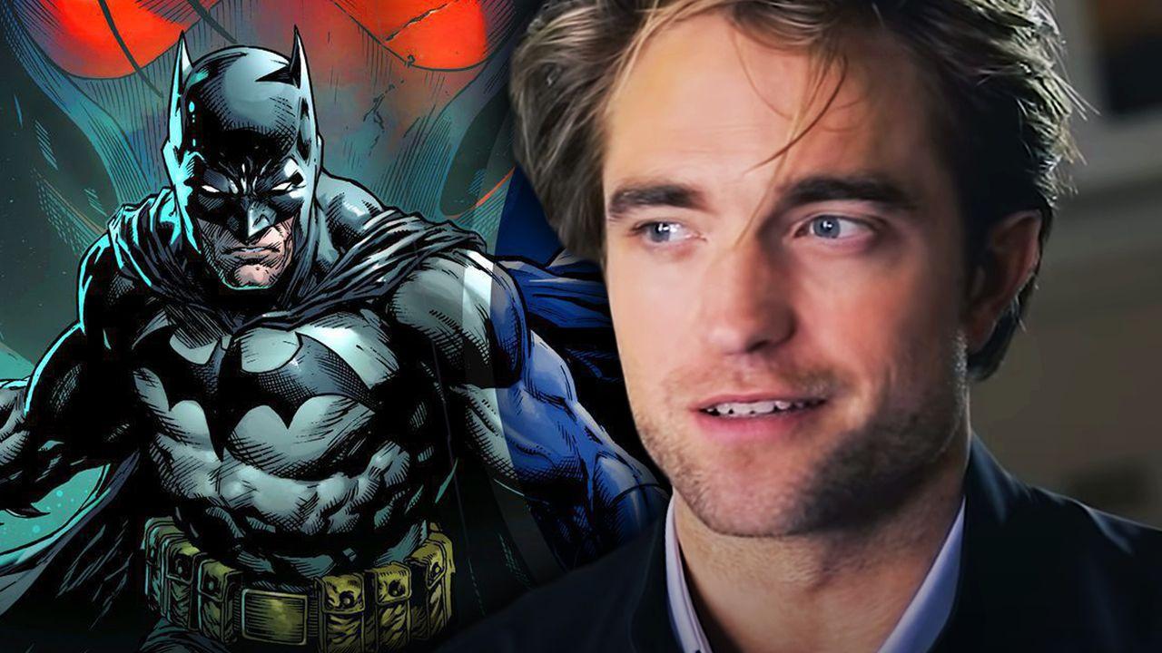 Batman on left with Robert Pattinson on right