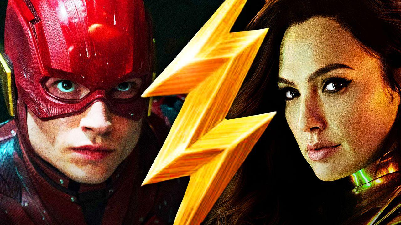 Ezra Miller as The Flash, Flash logo, Gal Gadot as Wonder Woman