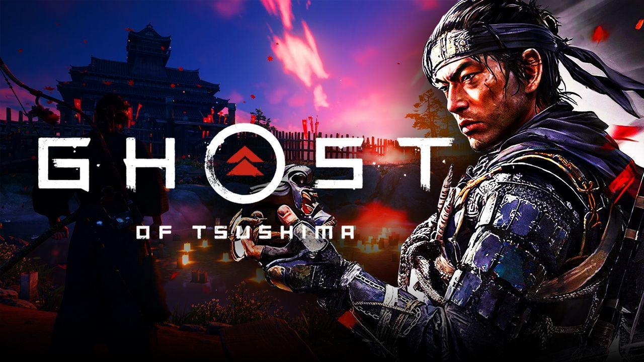 Ghost of Tsushima characters in front of the logo