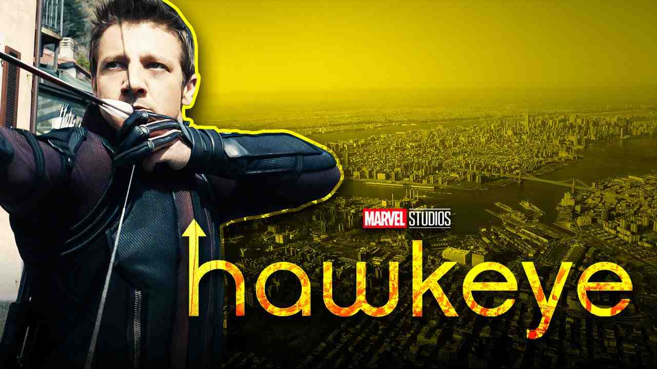 Hawkeye on left with yellow background of city and logo in foreground