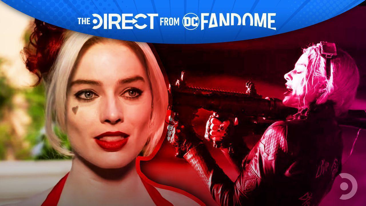 Margot Robbie as Harley Quinn, Harley Quinn holding a machine gun.