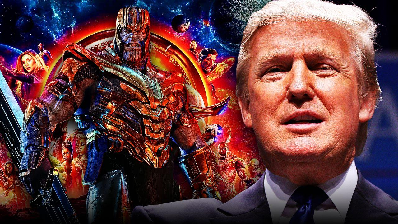 Thanos in Avengers Infinity War poster, Donald Trump