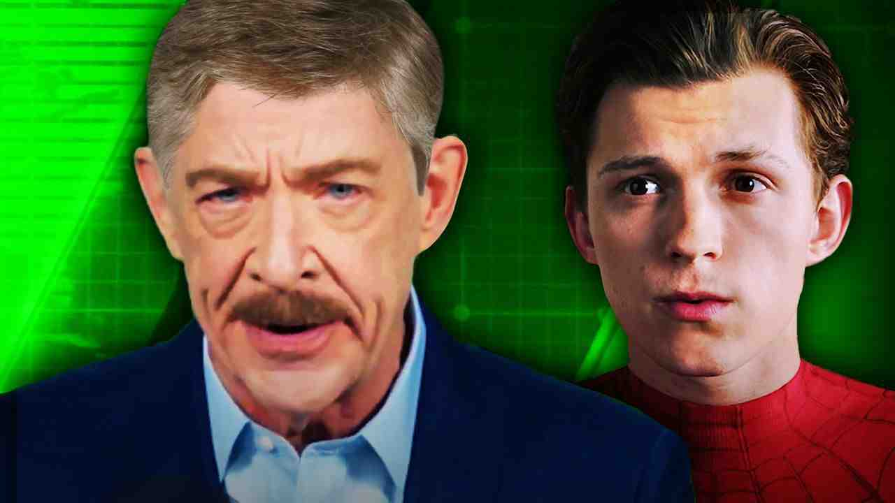 J. Jonah Jameson with hair on left, and no mask Spider-Man on right