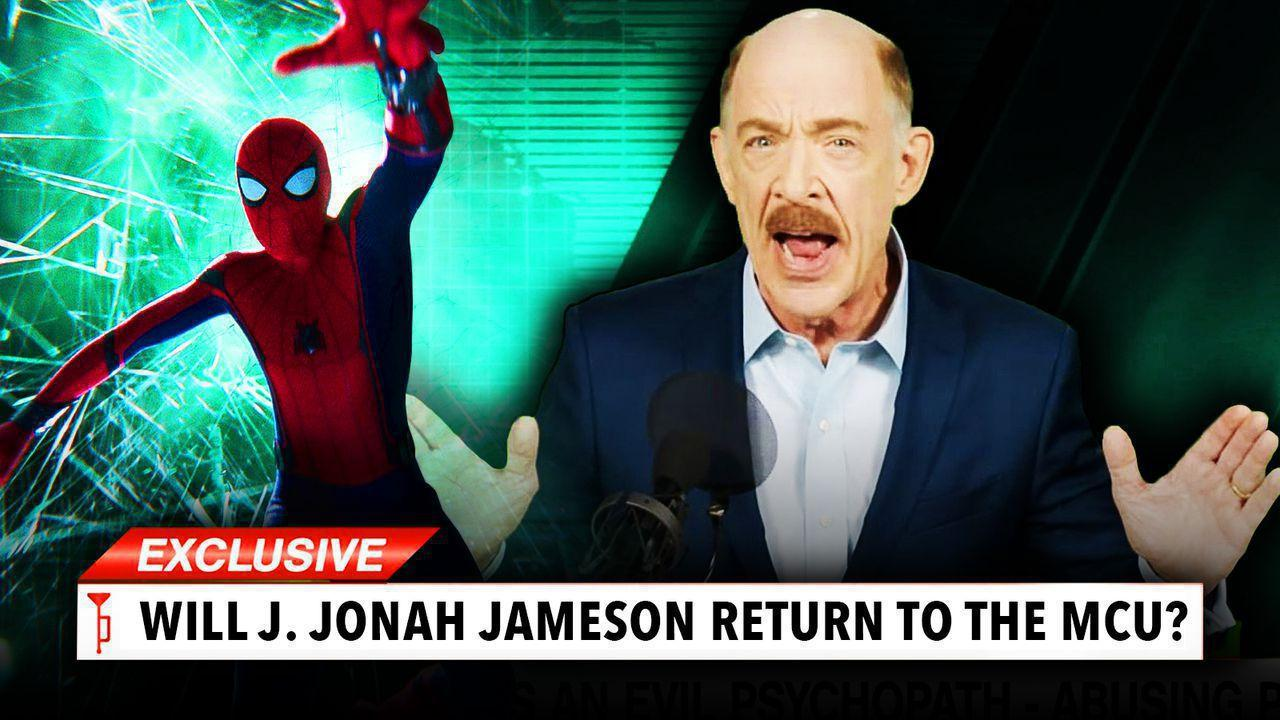 Spider-Man on left with J. Jonah Jameson on right