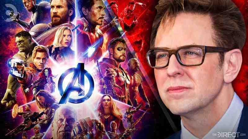 """James Gunn with """"Avengers: Endgame"""" poster"""