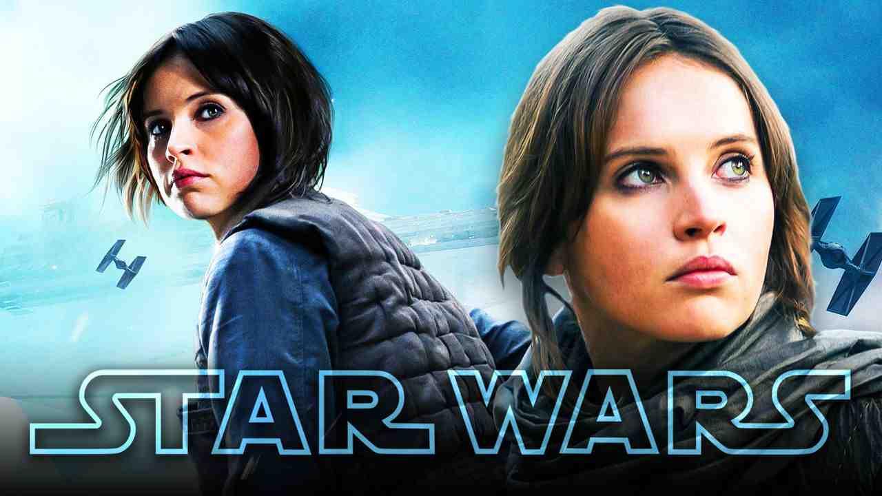 Jyn Erso, Felicity Jones as Jyn Erso, Star Wars logo