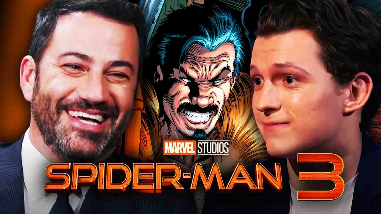 Jimmy Kimmel on left, Kraven the Hunter in middle, Tom Holland on right with Spider-Man 3 Logo
