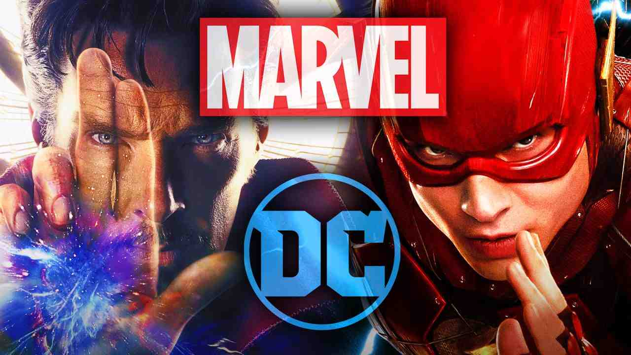 Dr. Strange and The Flash with Marvel and DC Logos