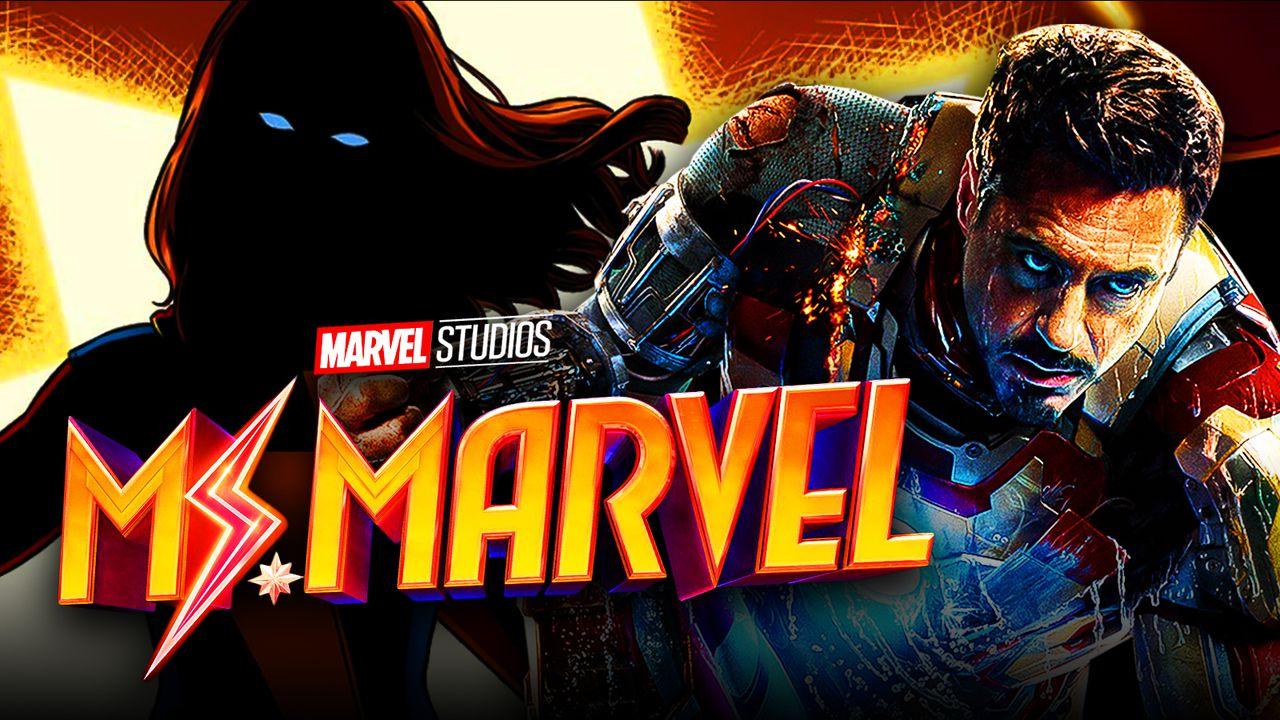 Ms. Marvel silhouette, Ms. Marvel logo, Robert Downey Jr. as Iron Man from Iron Man 3