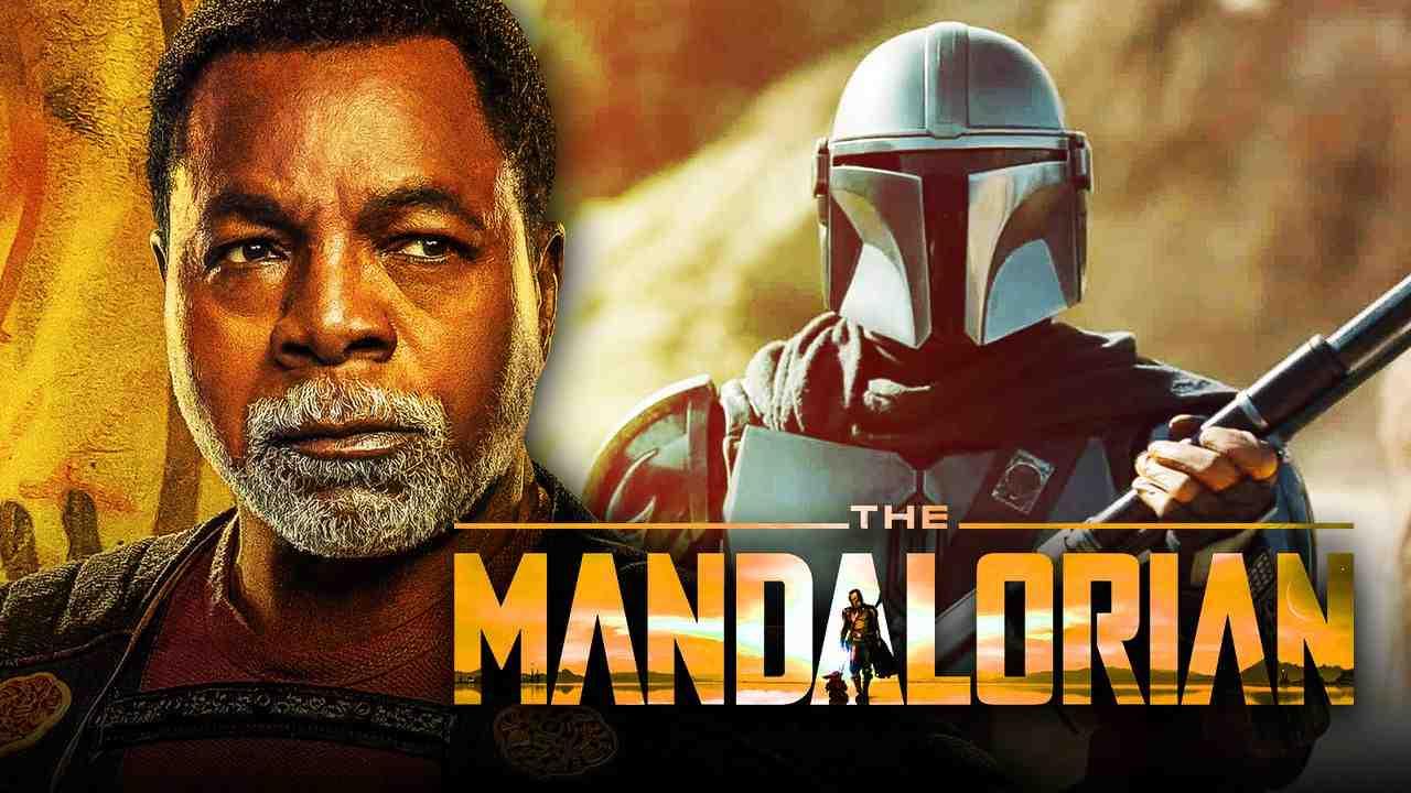 The Mandalorian logo, Mando, Carl Weathers as Greef Karga