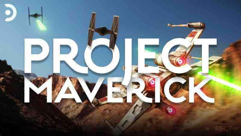 Project Maverick logo, Starfighters and Tie fighters battle