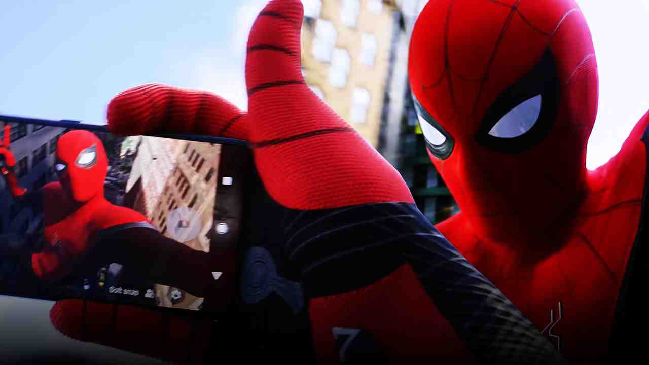 Spider-Man taking photo of himself with phone while swinging