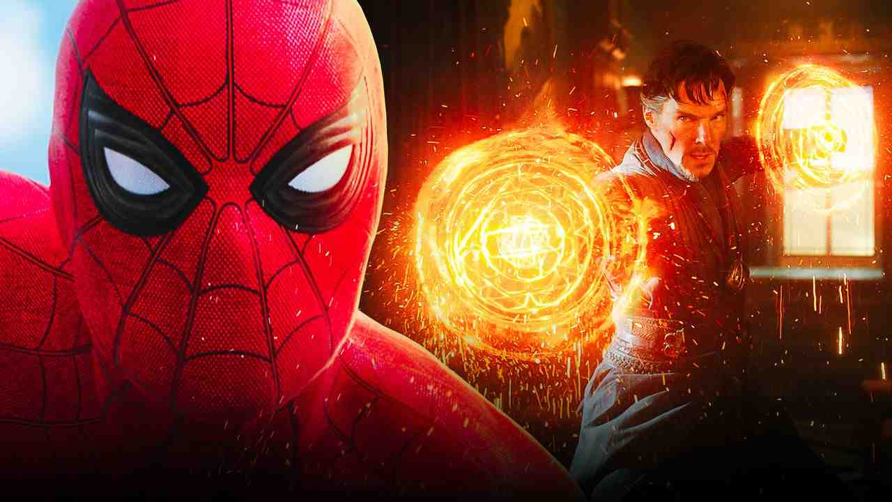 Spider-Man on left with Doctor Strange performing spell on right