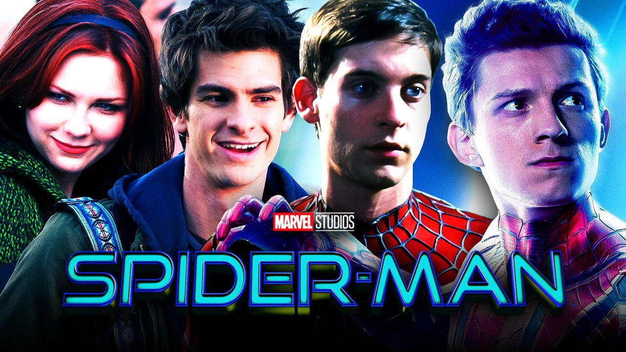 Spider-Man logo, Tom Holland as Spider-Man, Andrew Garfield, Tobey Maguire, Kirsten Dunst