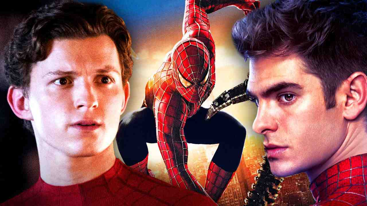Tom Holland's Spider-Man with Andrew Garfield and Tobey Maguire's Peter Parker