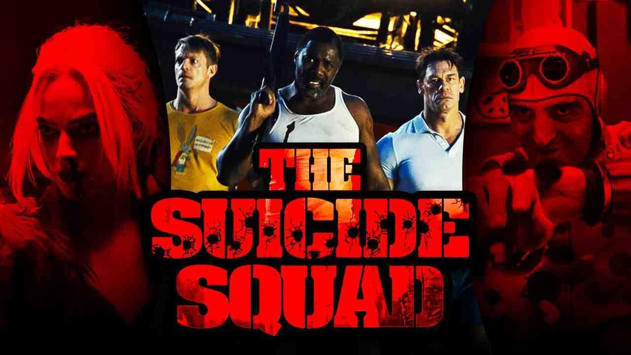 The Suicide Squad logo, Idris Elba as Bloodsport, Joel Kinnaman as Rick Flag, John Cena's Peacemaker